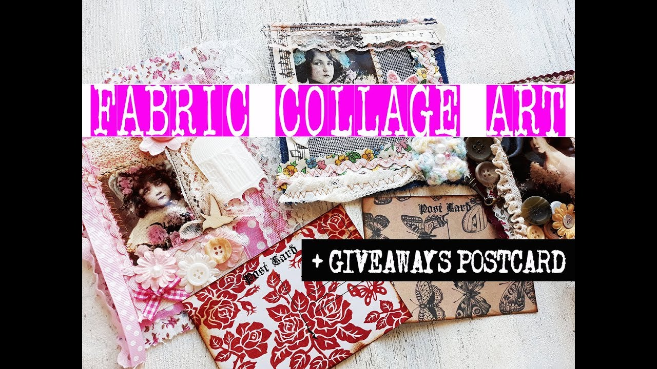How to Fabric Collage Art Mixed Media Junk Journal,Textile Art ideas,GIVEAWAY digital paper