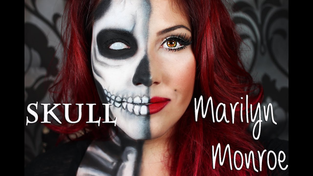 Half skull and half marilyn monroe classic eyes and red lip half skull and half marilyn monroe classic eyes and red lip makeup tutorial youtube baditri Images