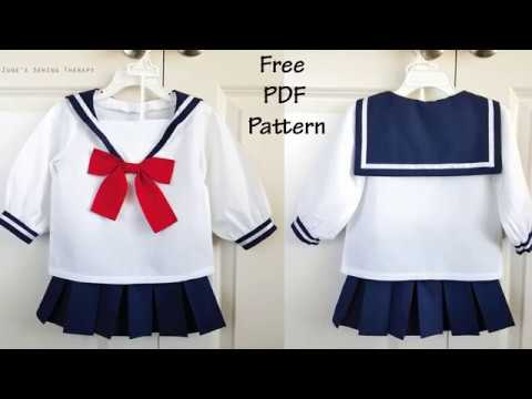 7effb860 Kids Anime Schoolgirl/Sailor Costume with FREE Pattern! - YouTube