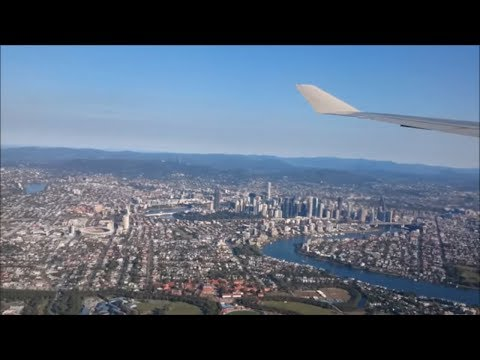 Qantas flight QF16 arriving at Brisbane Airport