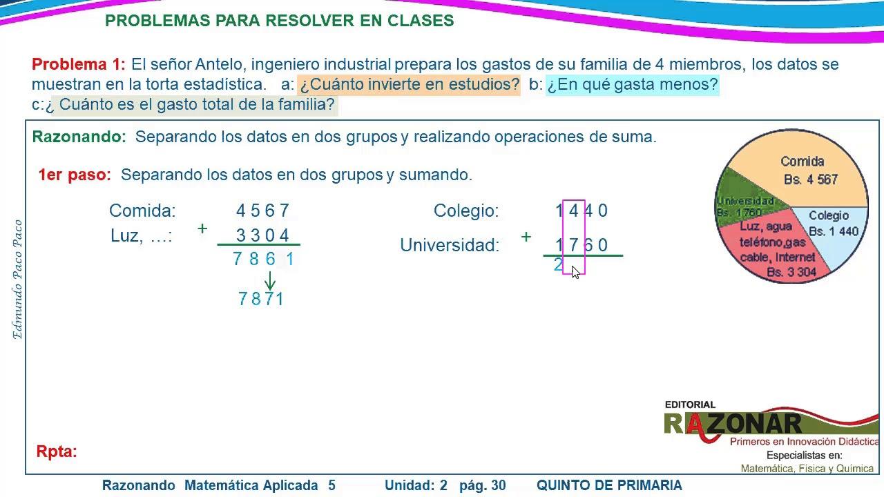 Problemas Para Resolver En Clases 5to De Primaria Libro Razonando Matematica Aplicada 5p Youtube