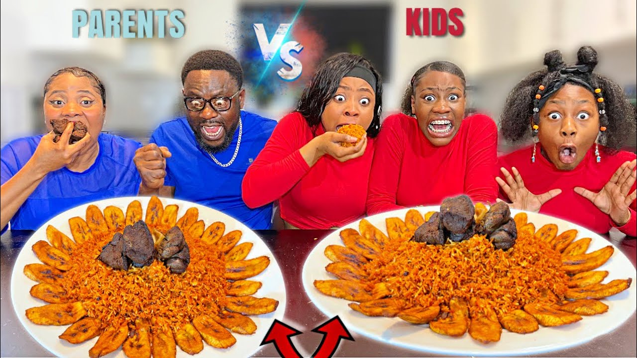 PARENTS VS KIDS | JOLLOF RICE AND FRIED GOAT MEAT WITH PLANTAIN SPEED EATING CHALLENGE!! *intense*
