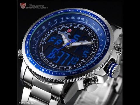 7ee38a7a8dff Мужские наручные часы SHARK Mens Quartz Sport Army Watch LCD Date Stopwatch  Stainless Steel