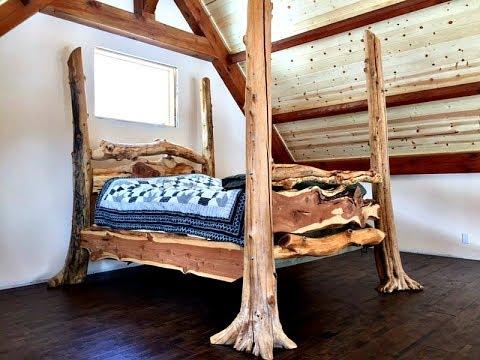 Rustic Log Bed Built From Fallen Storm