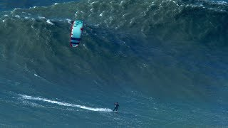 BIGGEST Wave Kite Surfed by Nuno Figueiredo at Nazare - Hard Rock version