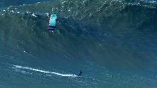 BIGGEST Wave Kite Surfed by Nuno Figueiredo at Nazare  Hard Rock version