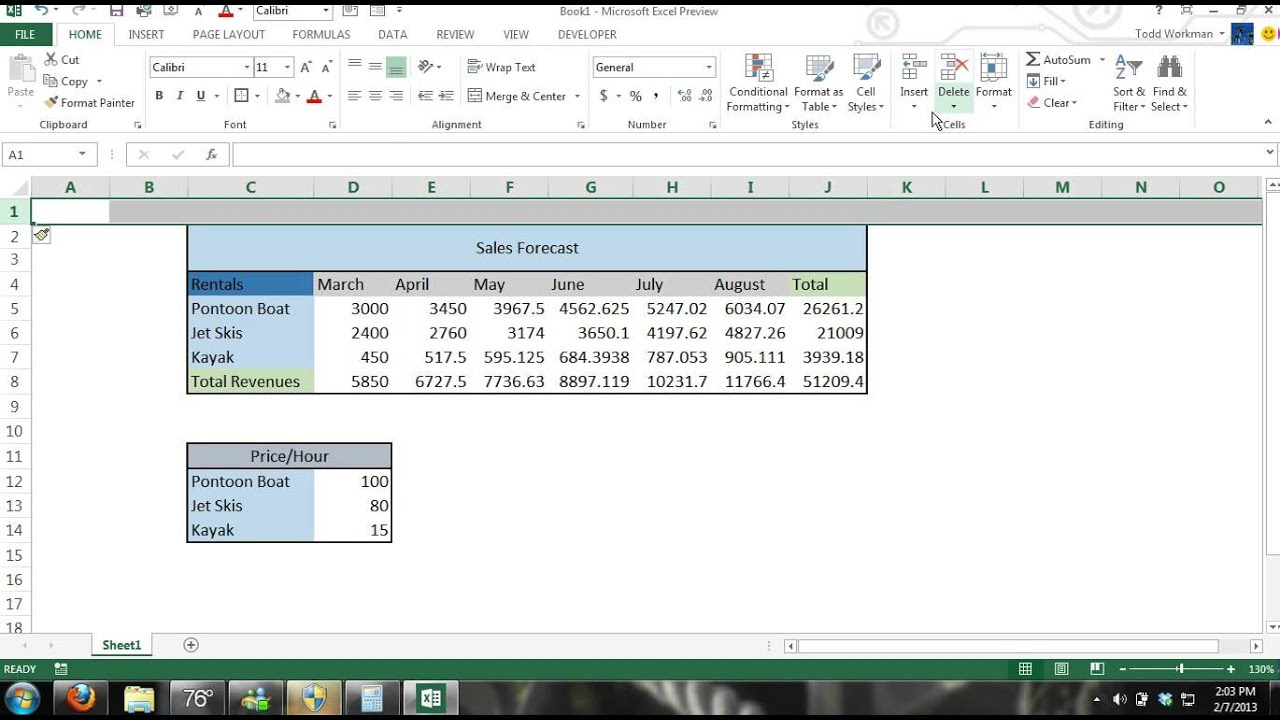 Microsoft Excel 2013 Tutorial For Beginners #3: Crash Course Data Entry  Formulas Formats Charts 365