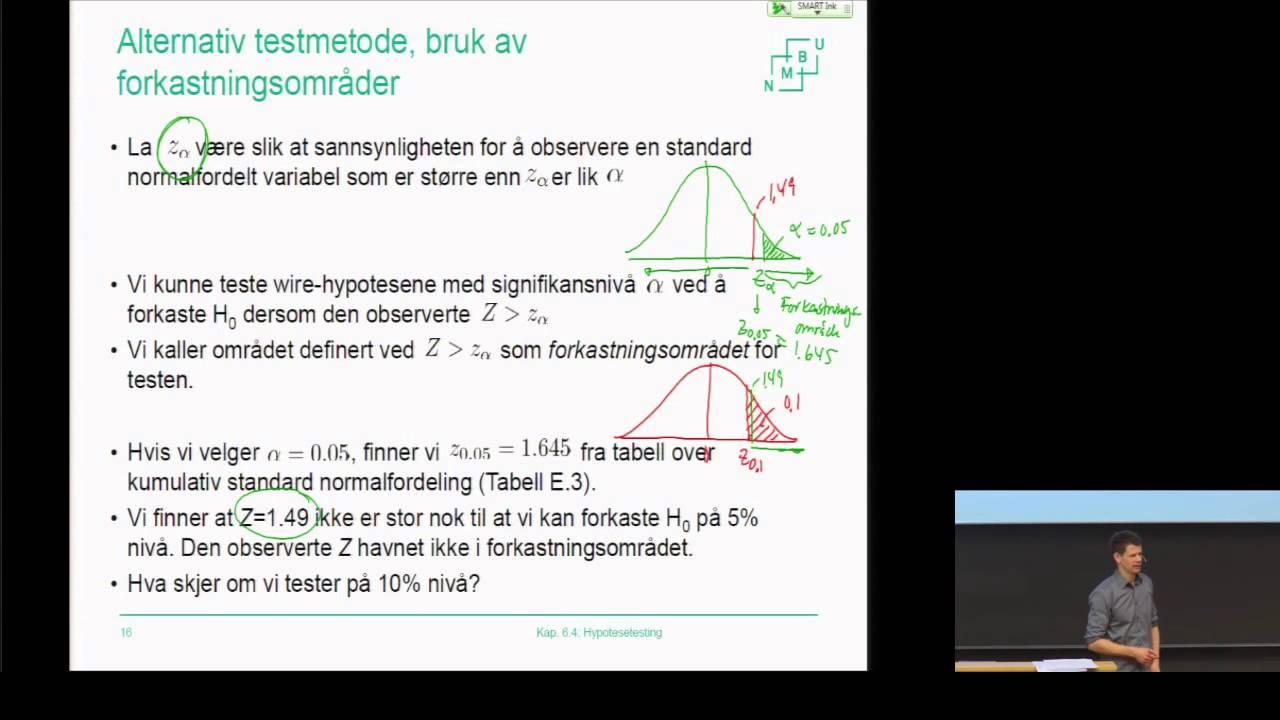 F11.2_Hypotesetesting - Om testnivå og forkastningsområde -  Statistikk grunnkurs (NMBU)