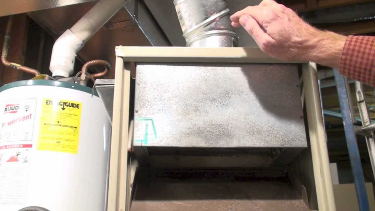How the draft hood on the gas furnace works - YouTube