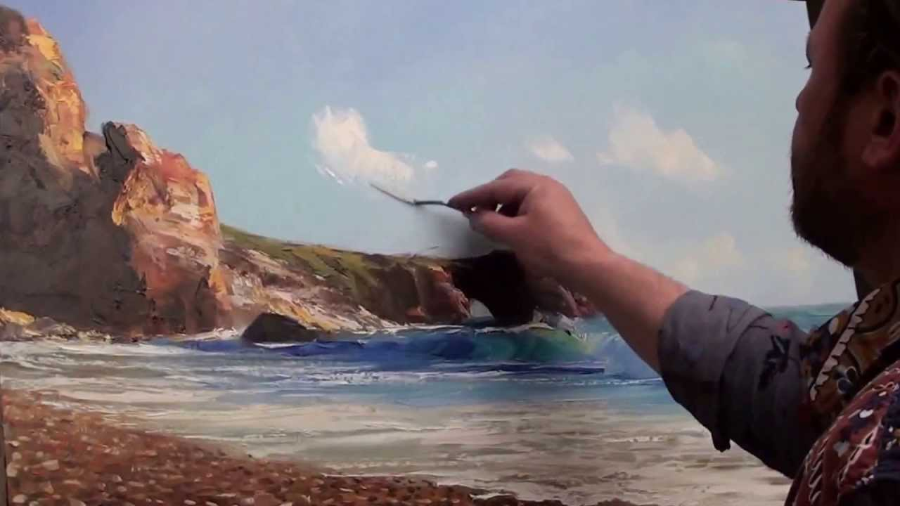 Pittura Acrilica Video Igor Sakharov Vista Sul Mare Con Gabbiani Video Lezione