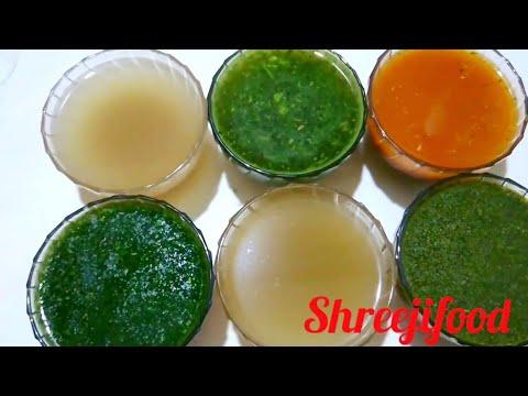 પાણીપુરી નાં ફલેવરફૂલ જુદાં જુદાં પાણી  recipe Of Different Types Of Pani Puri Water