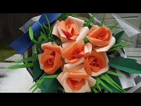 How to make #DIY paper Flowers rose Bouquet  #supereasy #fun #craft