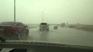 Saudi Arabia Hail Storm from a family car's perspective
