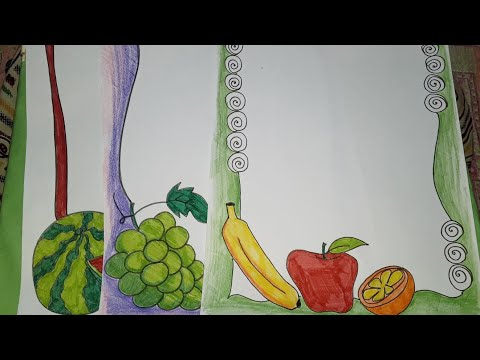 Fruits drawing  Border designs on paper   Borders for project work   Border designs by Rai's Art.