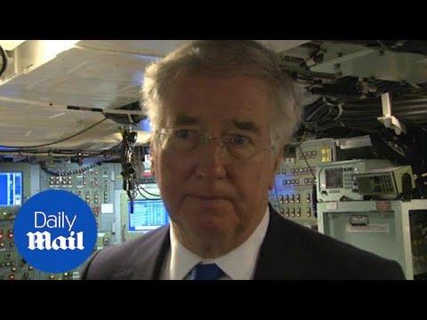 Michael Fallon visits HMS Vigilant at Faslane naval base - Daily Mail