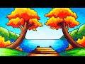 - Cara Menggambar Pemandangan Danau yang Mudah | Gambar Pemandangan Danau di Musim Gugur yang Simpel