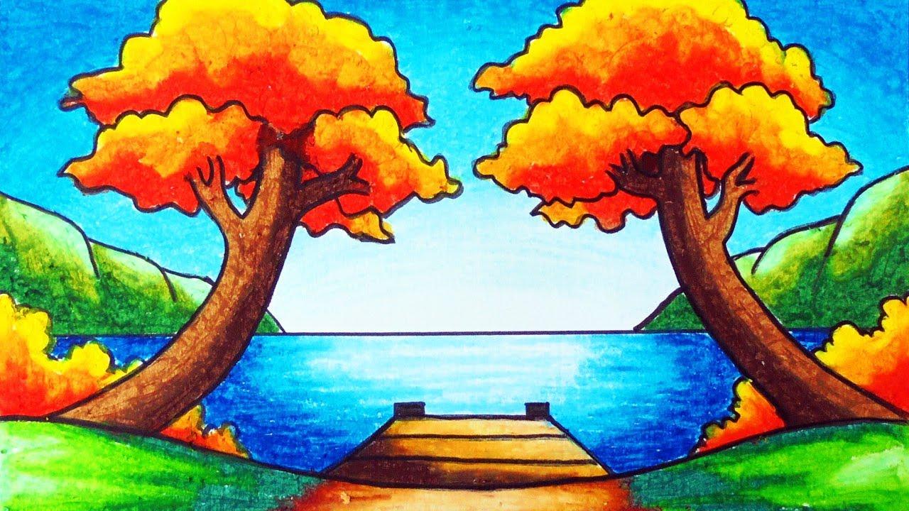 Cara Menggambar Pemandangan Danau yang Mudah   Gambar