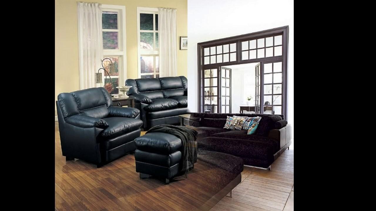 Muebles negros diseño de la sala de estar - YouTube