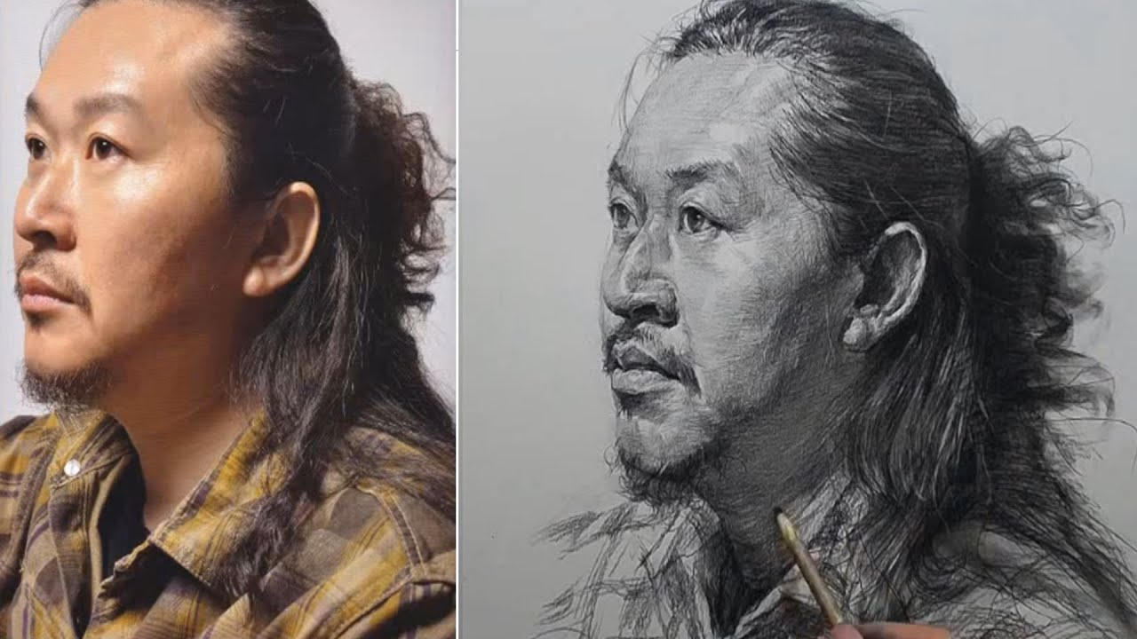 [Real time ] Drawing a man with long hair in pencil charcoal