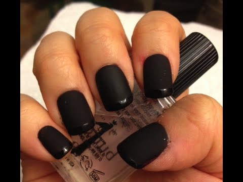 Chanel Inspired Glossy Matte Black French Manicure