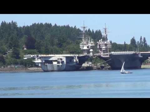 Puget Sound Navy Yard with 4 stored US Carriers@ Bremerton WA 7/6/2013 b