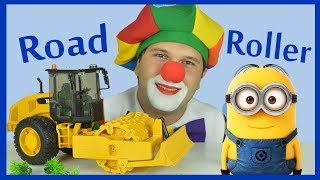 Construction vehicle road roller cartoon for children with Funny clown