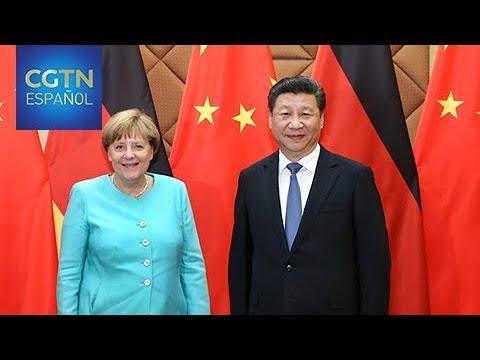 El presidente chino se reúne con la canciller alemana