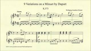 Mozart, 9 Variations on a Minuet by Duport, K 573, Thema