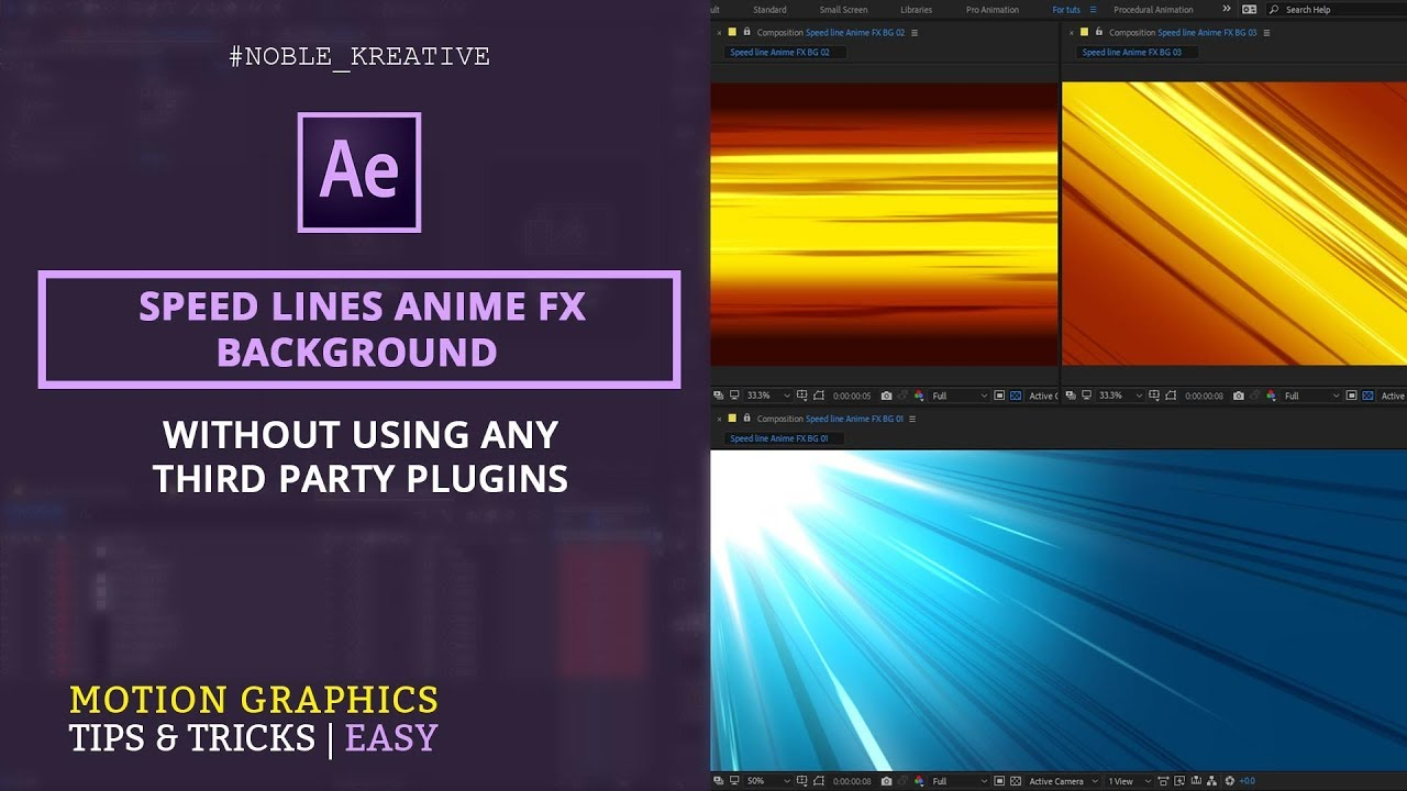 Speed Lines Anime FX Background in After Effects | NoPlugin