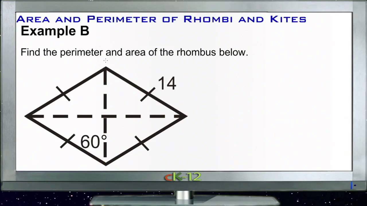 Area And Perimeter Of Rhombuses And Kites: Examples (basic Geometry  Concepts)