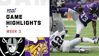 Raiders vs. Vikings Week 3 Highlights | NFL 2019