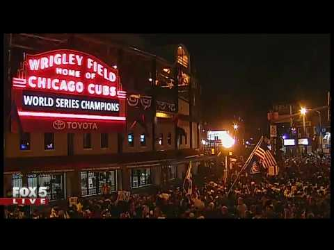 Celebration at Wrigley Field following Cubs' victory in the World Series