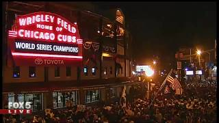 Celebration at Wrigley Field following Cubs