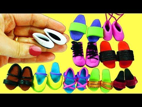 7fd7ec9f 10 Zapatos, Zapatillas, Tennis, etc para Muñecas - Manualidades Para  Muñecas - YouTube