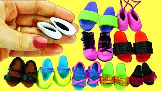10 Zapatos, Zapatillas, Tennis, etc para Muñecas  -  Manualidades Para Muñecas