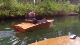 plywood mini boat electric inboard cruise rain
