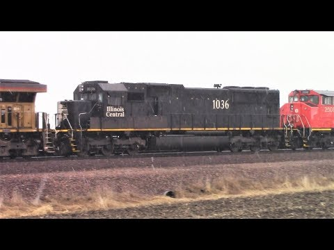 """Illinois Central """"Death Star,"""" Canadian National & NS on UP manifest, Colo, Iowa"""