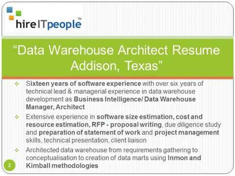 Data Warehouse Architect Resume Addison, Texas - YouTube