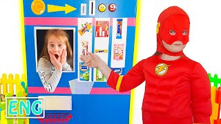 Annie and Tina superheroes vending machine kids toy story
