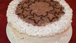 Бисквитный торт со сливочным кремом и бананами(Очень красивый и вкусный бисквитный тор со сливочным кремом и бананами. В разрезе видно кружочек банана,..., 2014-08-28T07:54:28.000Z)