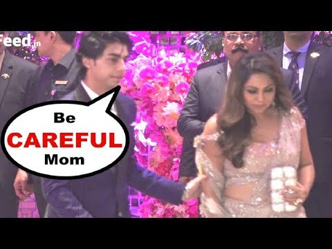 SRK Son Aryan Khan SWEET GESTURE With Mom Gauri Khan At AKash Ambani Engagement Party