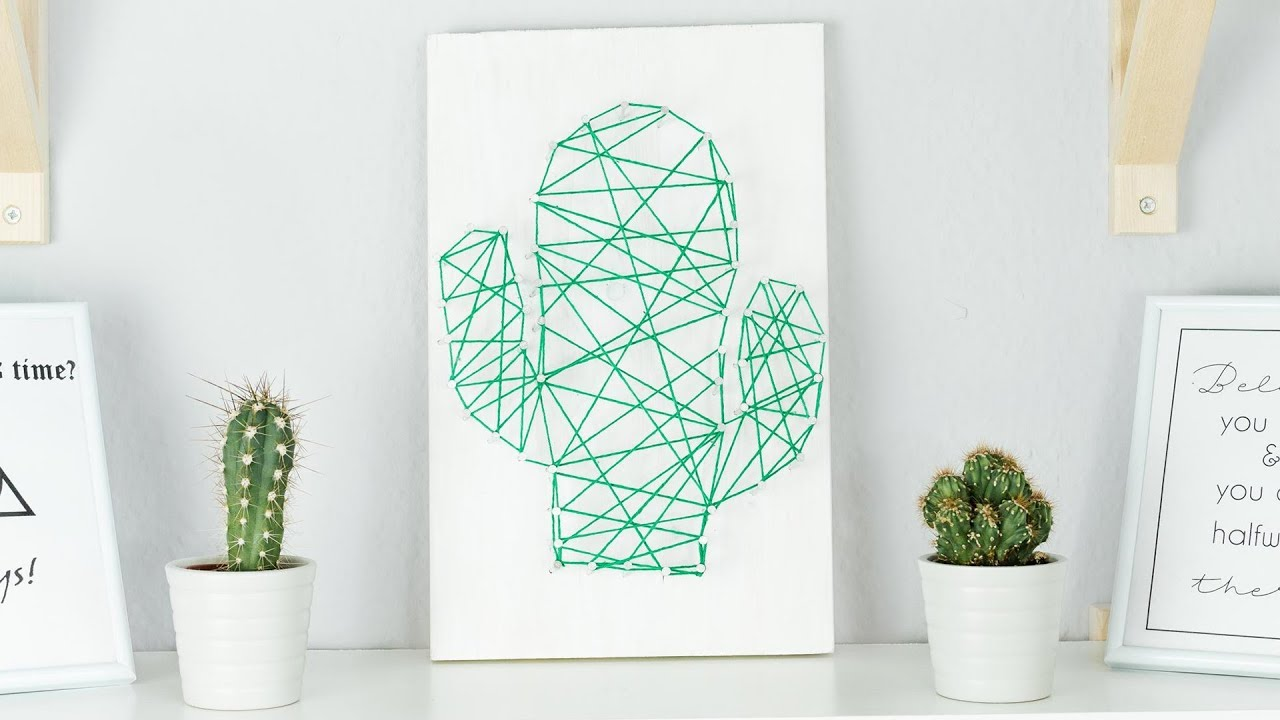 DIY Kaktus Fadenbild selber machen | Nagelbild basteln | tolle DIY ...