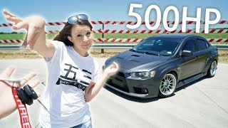 WIFE DRIVES 500HP EVO X! (and cries)