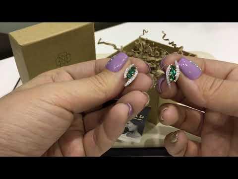 Серьги 1207 из красного золота 585 пробы с изумрудами и бриллиантами
