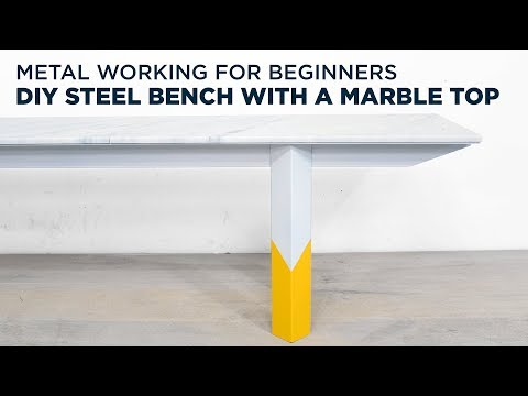 DIY Steel Bench with a Marble Top | Metal working for beginners