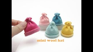 DIY Miniature Doll Mini Wool Hat - Very Easy to make!