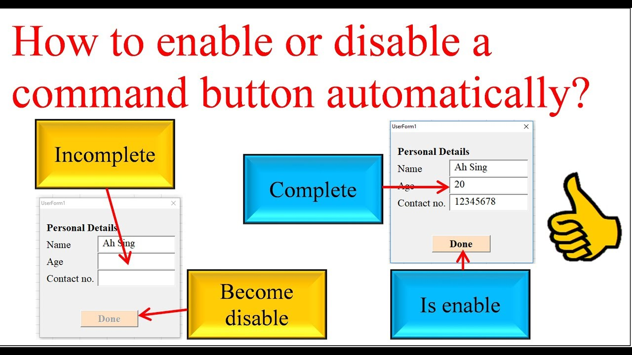 Excel VBA - Auto enable or disable command button on userform