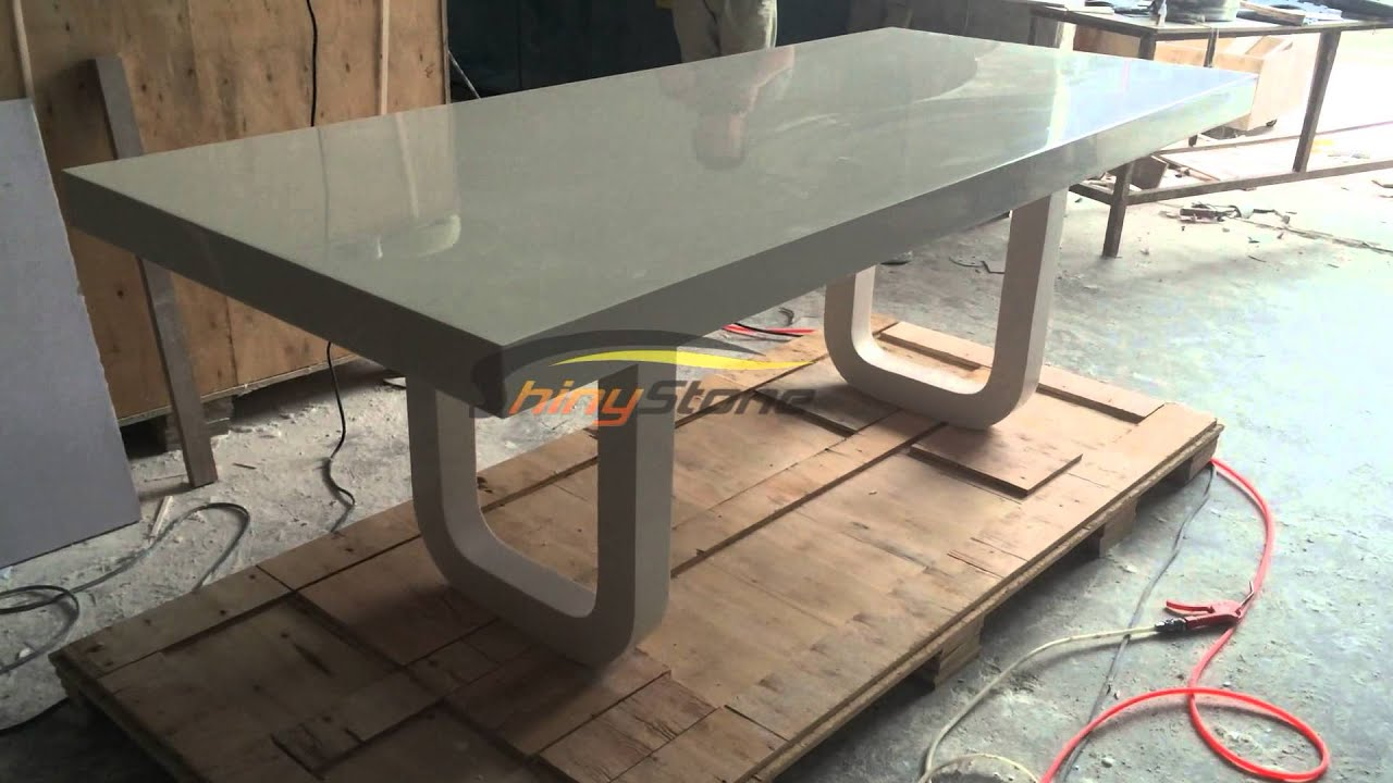 Corian artificial stone solid surface dining table for 8 for Quartz top dining table