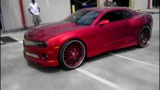 candy red widebody 2010 ss camaro on 26 staggered forgiatos