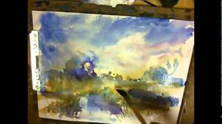 Fearless Watercolor #1 Frozen Marsh Full Watercolor Demonstration Music Ted Yoder
